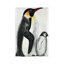 Penguin and Chick Rectangle Magnet
