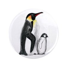 "Penguin and Chick 3.5"" Button"