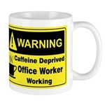 Caffeine Warning Office on Back of Mug