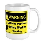 Caffeine Warning Office on Back of Large Mug