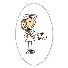 I Heart Tennis Oval Decal