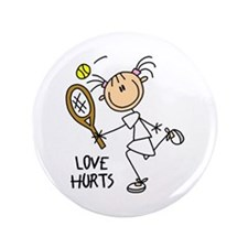 """Love Hurts Tennis 3.5"""" Button (100 pack)"""