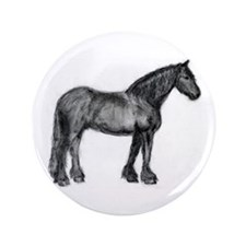 "Charcoal Friesian Horse 3.5"" Button"