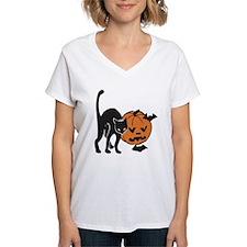 Halloween Cat, Pumpkin, Bats Shirt