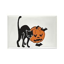 Halloween Cat, Pumpkin, Bats Rectangle Magnet (100