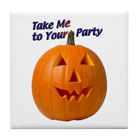 Party Pumpkin Face Tile Coaster