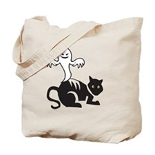 Halloween Ghost and Cat Tote Bag