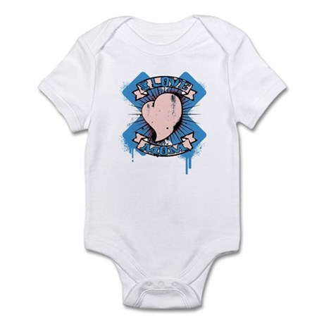 I Love Mom Blue Infant Bodysuit