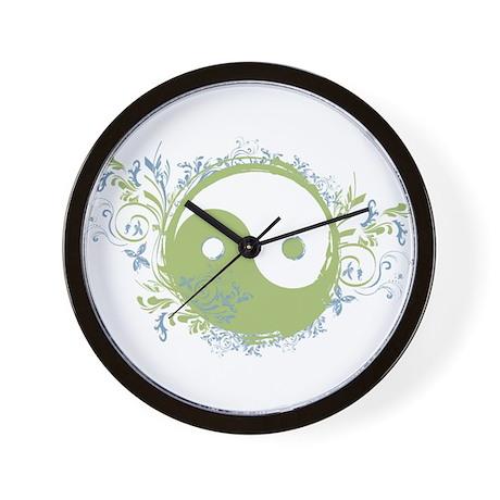 Pretty Yin-Yang Symbol : Green/Blue Wall Clock