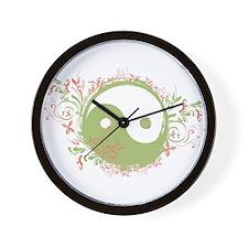 Pretty Yin-Yang Symbol : Green/Coral Wall Clock