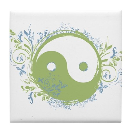 Pretty Yin-Yang Symbol : Green/Blue Tile Coaster