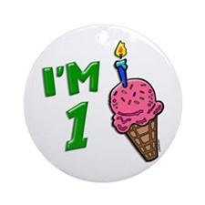 """I'm 1"" Ice Cream Cone Ornament (Round)"