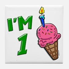"""I'm 1"" Ice Cream Cone Tile Coaster"