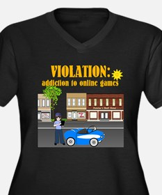 Addiction to Online Games Women's Plus Size V-Neck