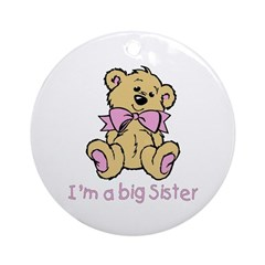 Baby Bear Big Sister Ornament (Round)