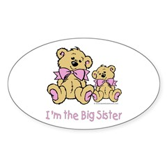 Baby Bear I'm The Big Sister Oval Decal