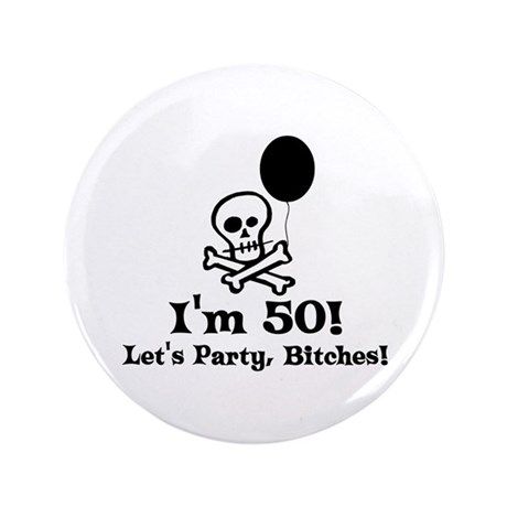 """50th Birthday Party 3.5"""" Button (100 pack)"""