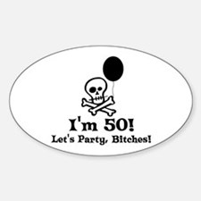 50th Birthday Party Oval Decal