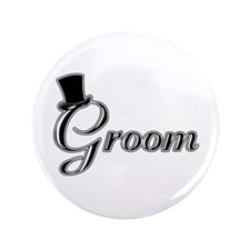 """Groom with Jaunty Top Hat 3.5"""" Button"""