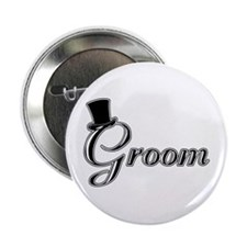 """Groom with Jaunty Top Hat 2.25"""" Button"""