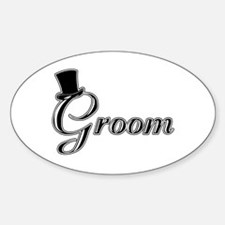 Groom with Jaunty Top Hat Oval Decal