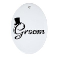 Groom with Jaunty Top Hat Oval Ornament