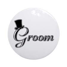 Groom with Jaunty Top Hat Ornament (Round)