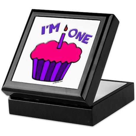 """I'm 1"" Purple & Pink Cupcake Keepsake Box"