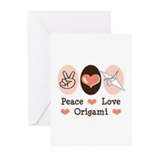 Peace Love Origami Crane Greeting Cards (Pk of 10)