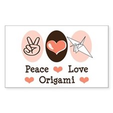 Peace Love Origami Crane Rectangle Decal