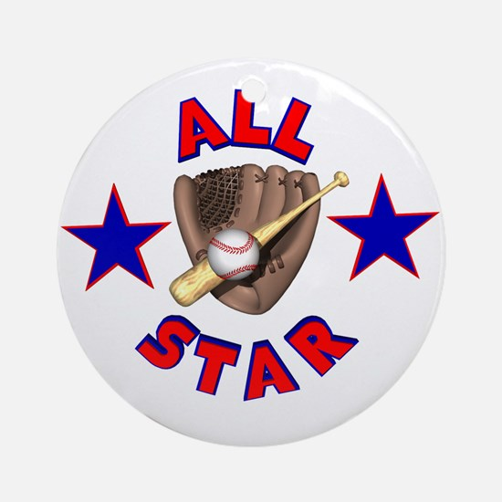 Baseball All Star Ornament (Round)