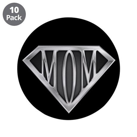 """Supermom(metal) 3.5"""" Button (10 pack)"""
