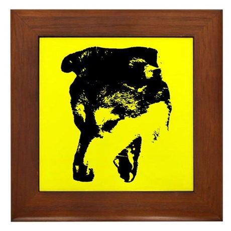 Snarling Wolf Dog (yellow/black) Framed Tile
