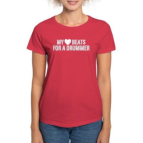 My Heart Beats for a Drummer Women's Dark T-Shirt