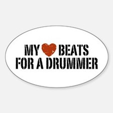 My Heart Beats for a Drummer Oval Decal