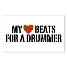 My Heart Beats for a Drummer Rectangle Decal
