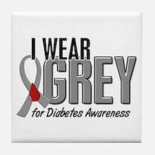 I Wear Grey 10 (Diabetes) Tile Coaster