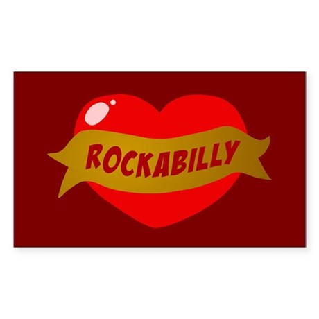 Rockabilly Heart Rectangle Sticker