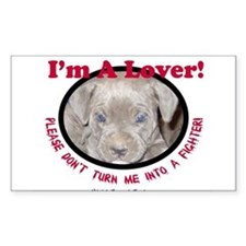 Pit Bull Puppy Anti Dog Fight Rectangle Decal