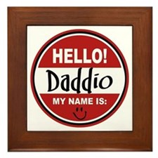 Hello My Name Is Daddio Framed Tile