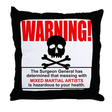 WARNING MMA Throw Pillow