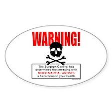 WARNING MMA Oval Decal