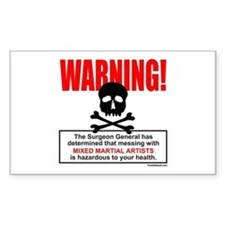 WARNING MMA Rectangle Decal