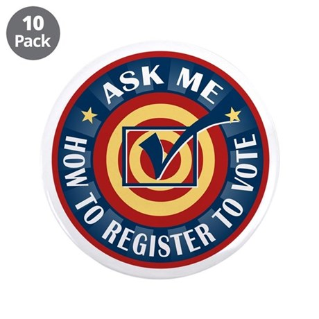"Ask me how to register to Vote 3.5"" Button (10 pac"