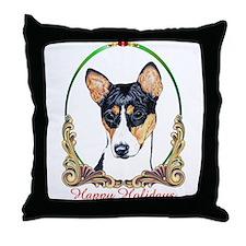 Basenji Dog Happy Holidays Throw Pillow