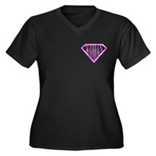 SuperWoman(Pink) Women's Plus Size V-Neck Dark T-S