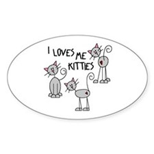I Loves Me Kitties Oval Decal