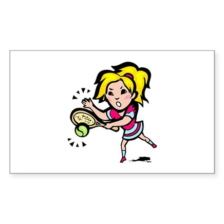 Ladies Tennis Rectangle Sticker