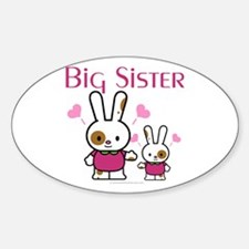 Bunnies Big Sister Oval Decal