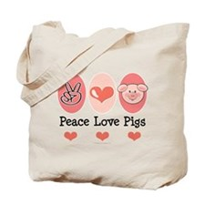 Peace Love Pigs Tote Bag